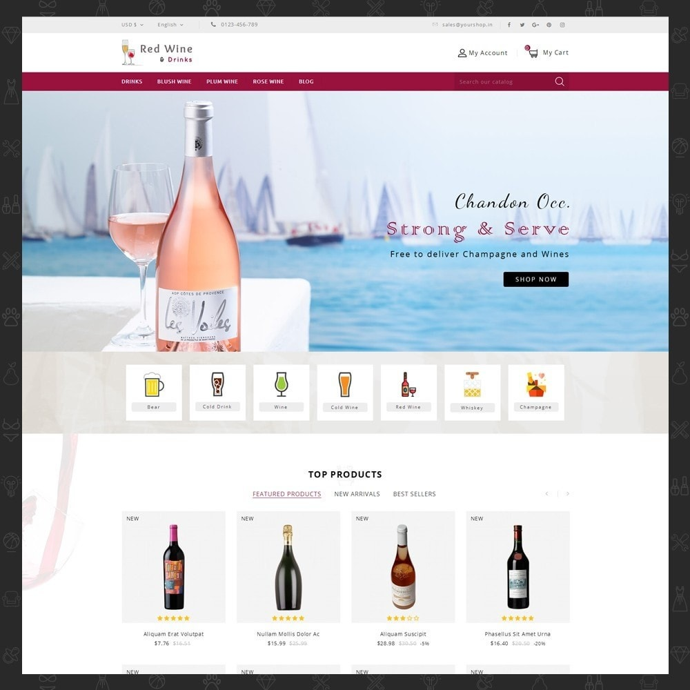theme - Getränke & Tabak - Red Wine Online Store - 2