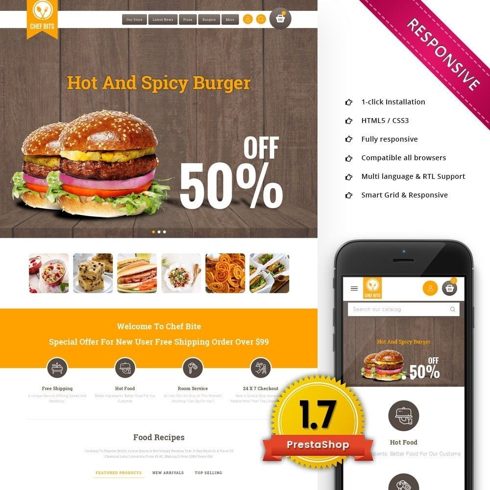 theme - Alimentation & Restauration - Chefbits Foot Store - 1