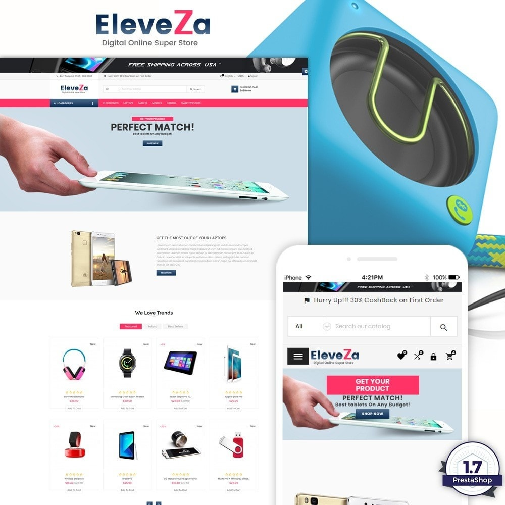 theme - Elettronica & High Tech - eleveza– Electronices Super Store v2 - 1