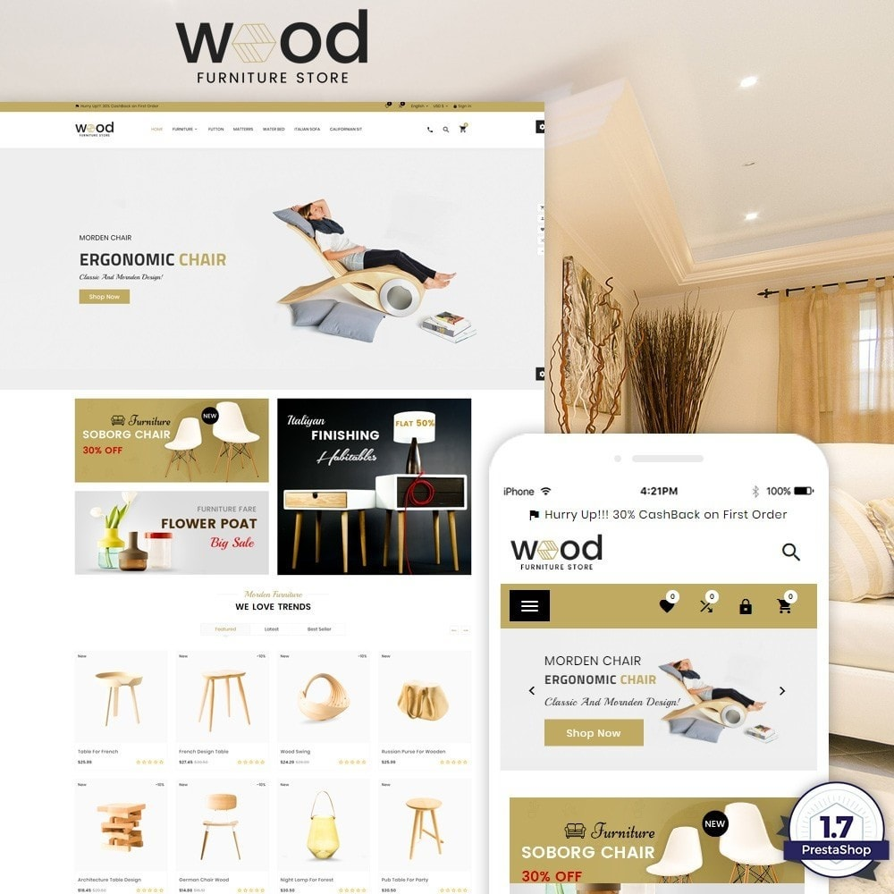 theme - Huis & Buitenleven - Wood – Furniture Super Store - 1