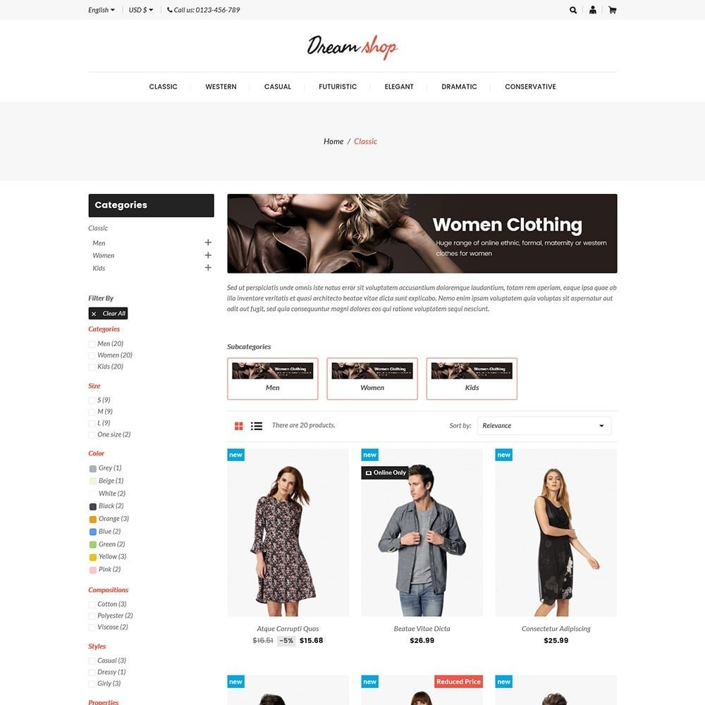 theme - Moda y Calzado - Dreamshop - Fashion Online Store - 3