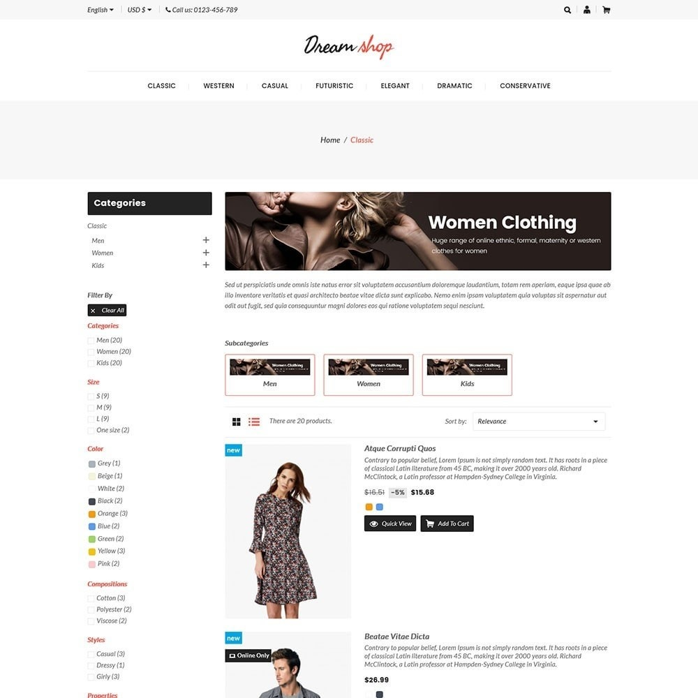theme - Moda y Calzado - Dreamshop - Fashion Online Store - 4