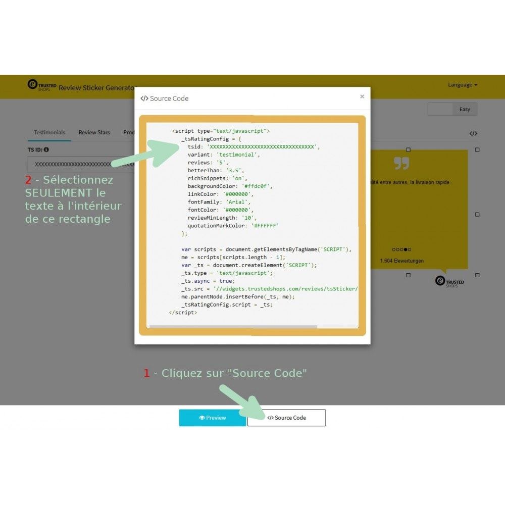 module - Avis clients - Étiquette de notation TrustedShop - 4