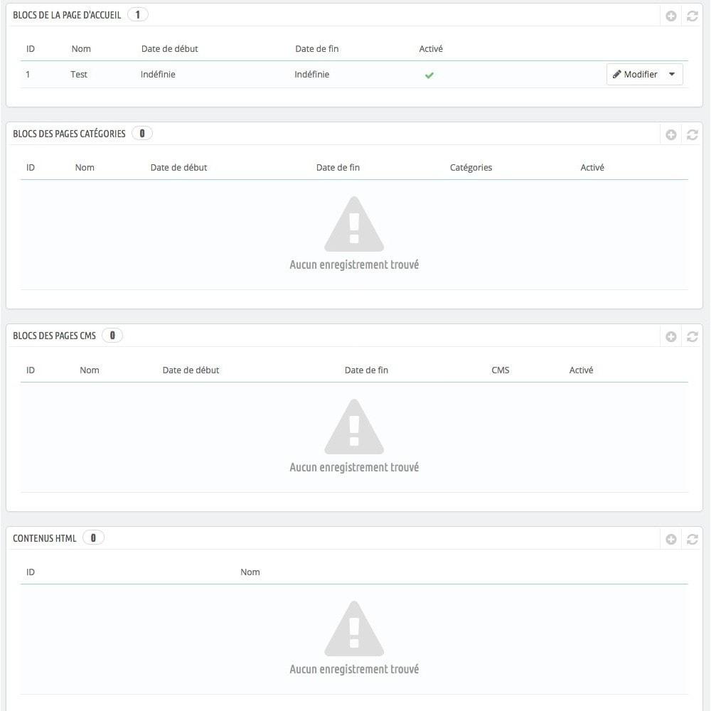 module - Blocs, Onglets & Bannières - Configurateur visuel accueil, catégorie et CMS - 2