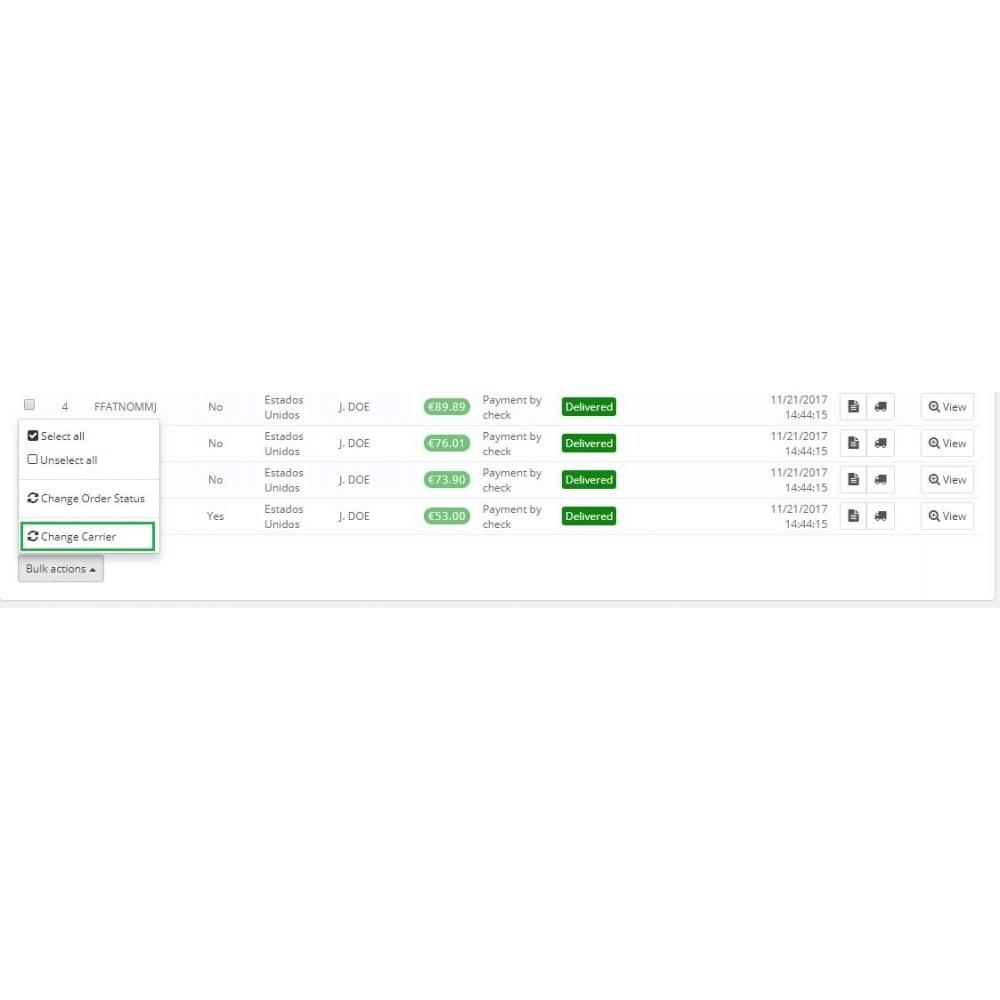 module - Snelle & seriematige bewerking - Change carrier bulk action - 2