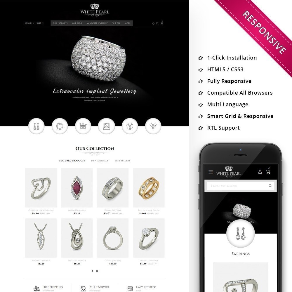 theme - Bellezza & Gioielli - White pearl Jewellery Shop - 1