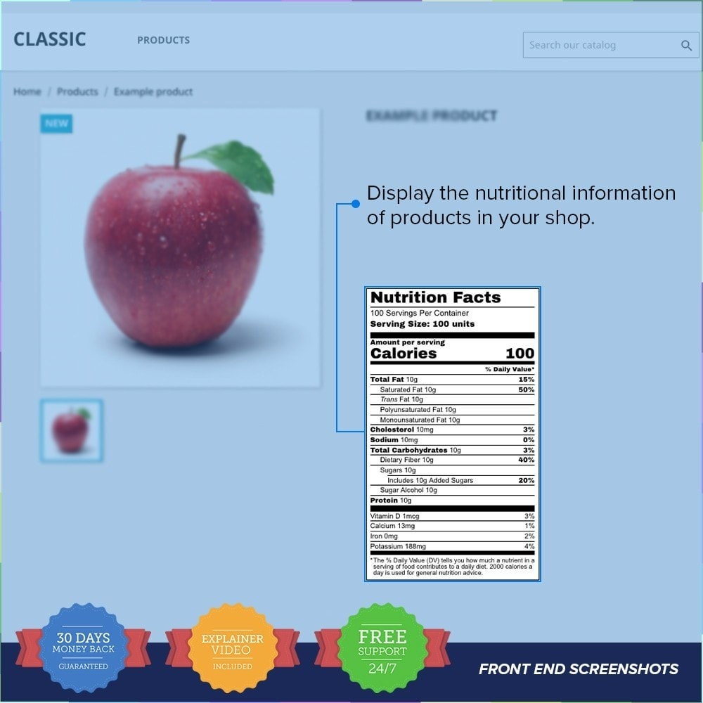 module - Bijkomende Informatie - Product Nutritional Details Pro - 1