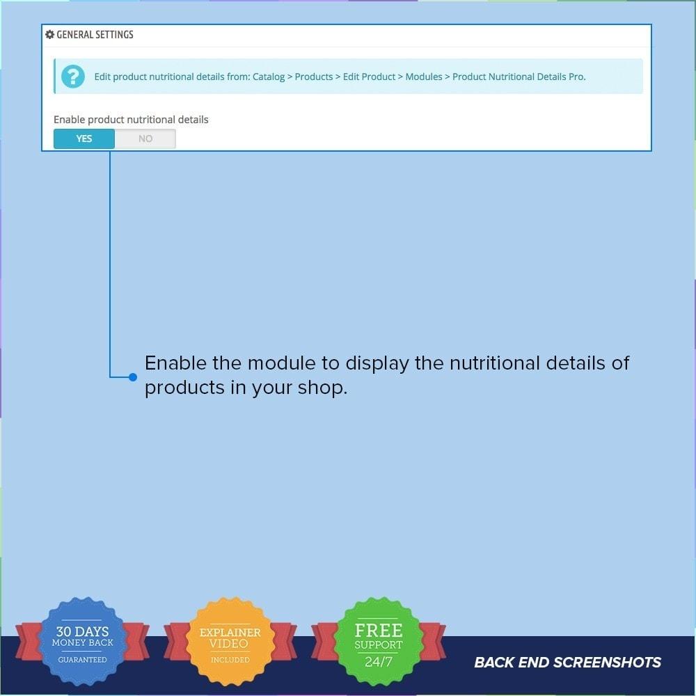 module - Zusatzinformationen & Produkt-Tabs - Product Nutritional Details Pro - 2