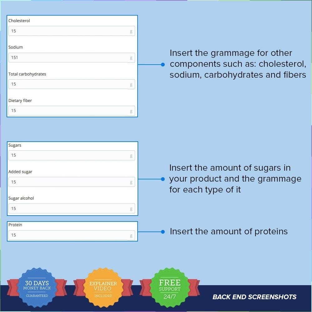 module - Zusatzinformationen & Produkt-Tabs - Product Nutritional Details Pro - 5