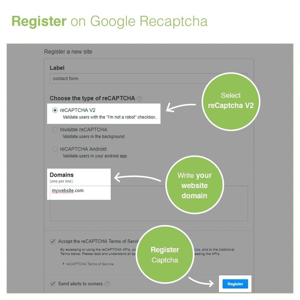 module - Security & Access - reCaptcha Modulo di iscrizione e contatto - Anti spam - 5