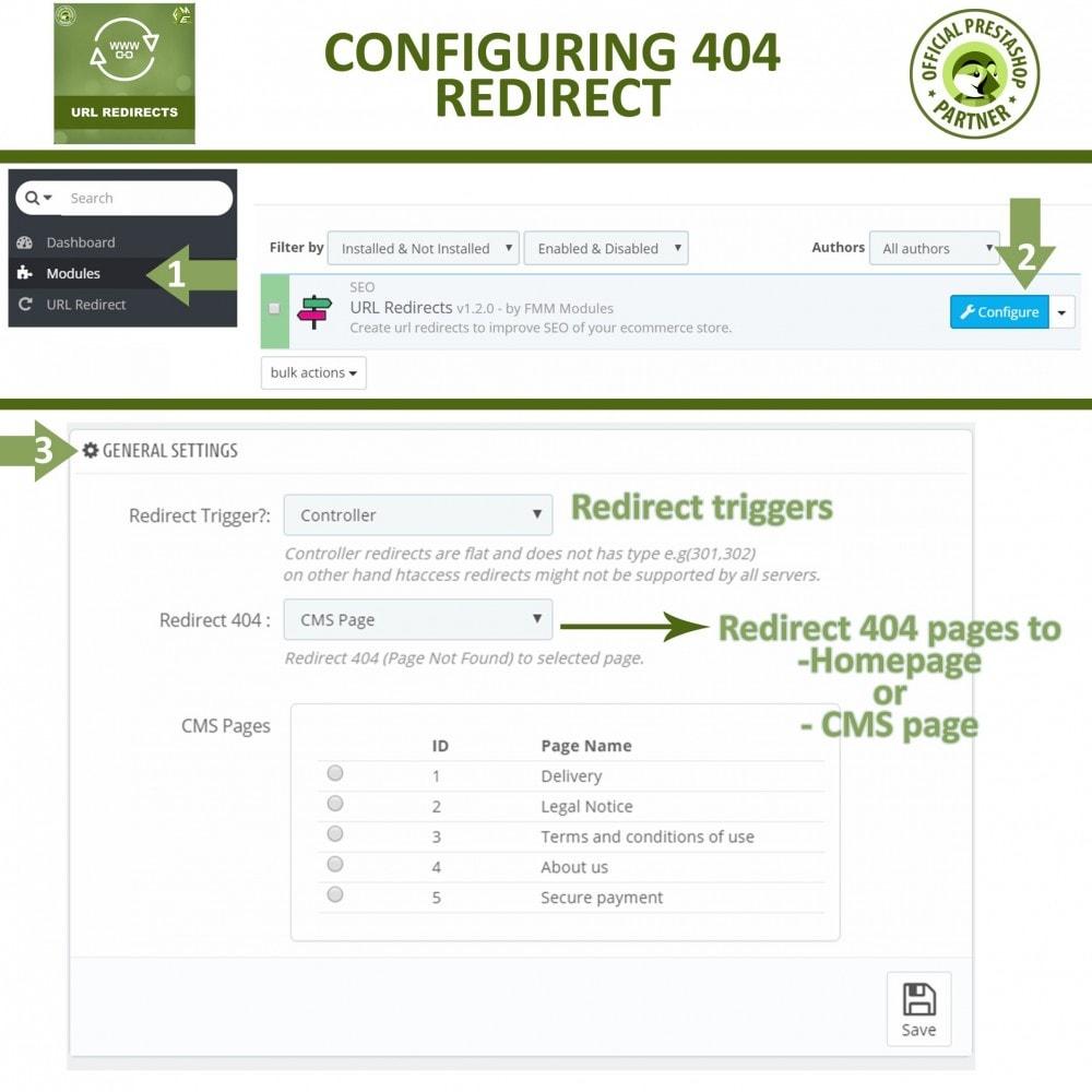 module - Gestão de URL & Redirecionamento - URL Redirect -Manage 301, 302, 303 redirects & 404 URLs - 3