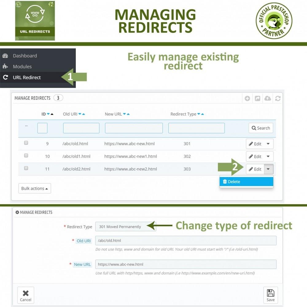 module - Gestão de URL & Redirecionamento - URL Redirect -Manage 301, 302, 303 redirects & 404 URLs - 4