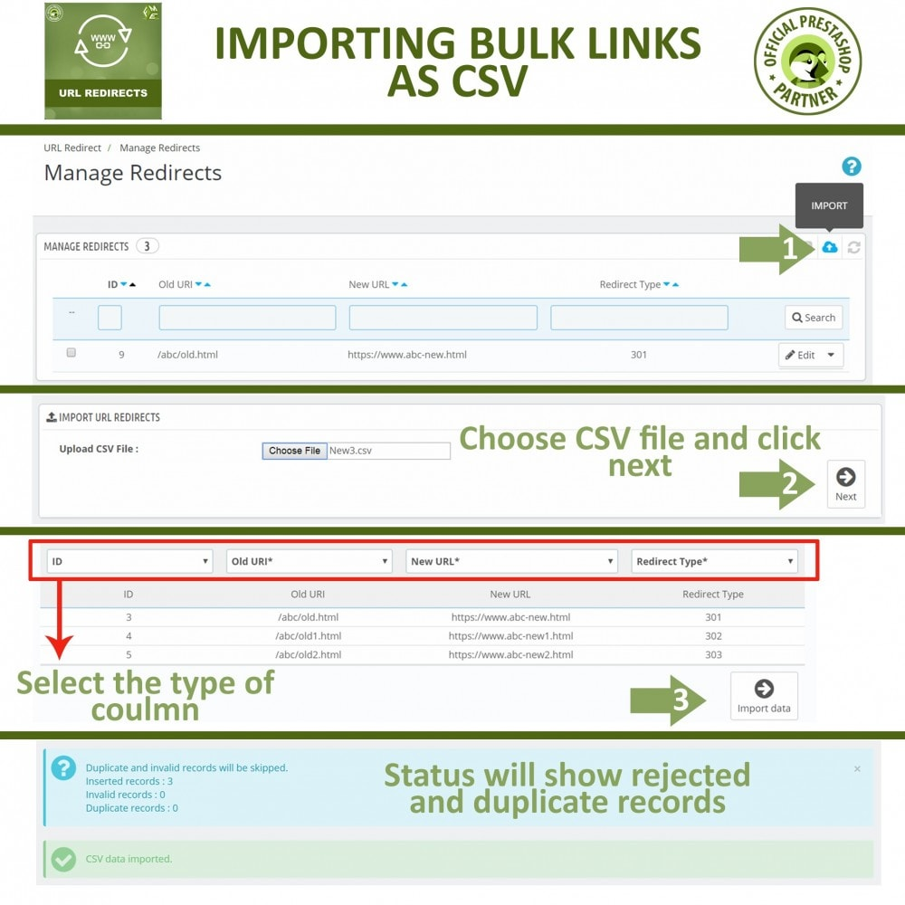 module - URL & Redirects - 301 Redirect -Manage 301, 302, 303 redirects & 404 URLs - 5