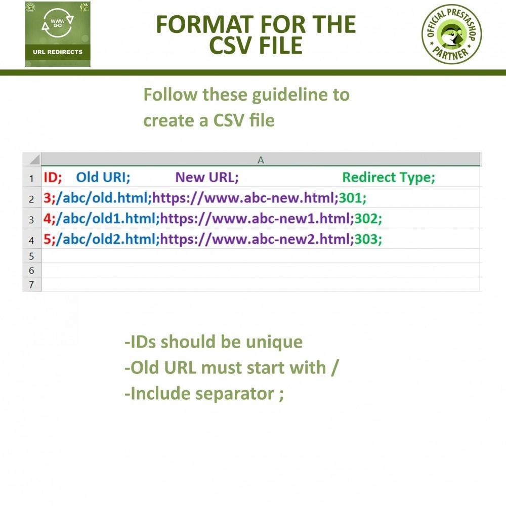 module - Gestão de URL & Redirecionamento - URL Redirect -Manage 301, 302, 303 redirects & 404 URLs - 8