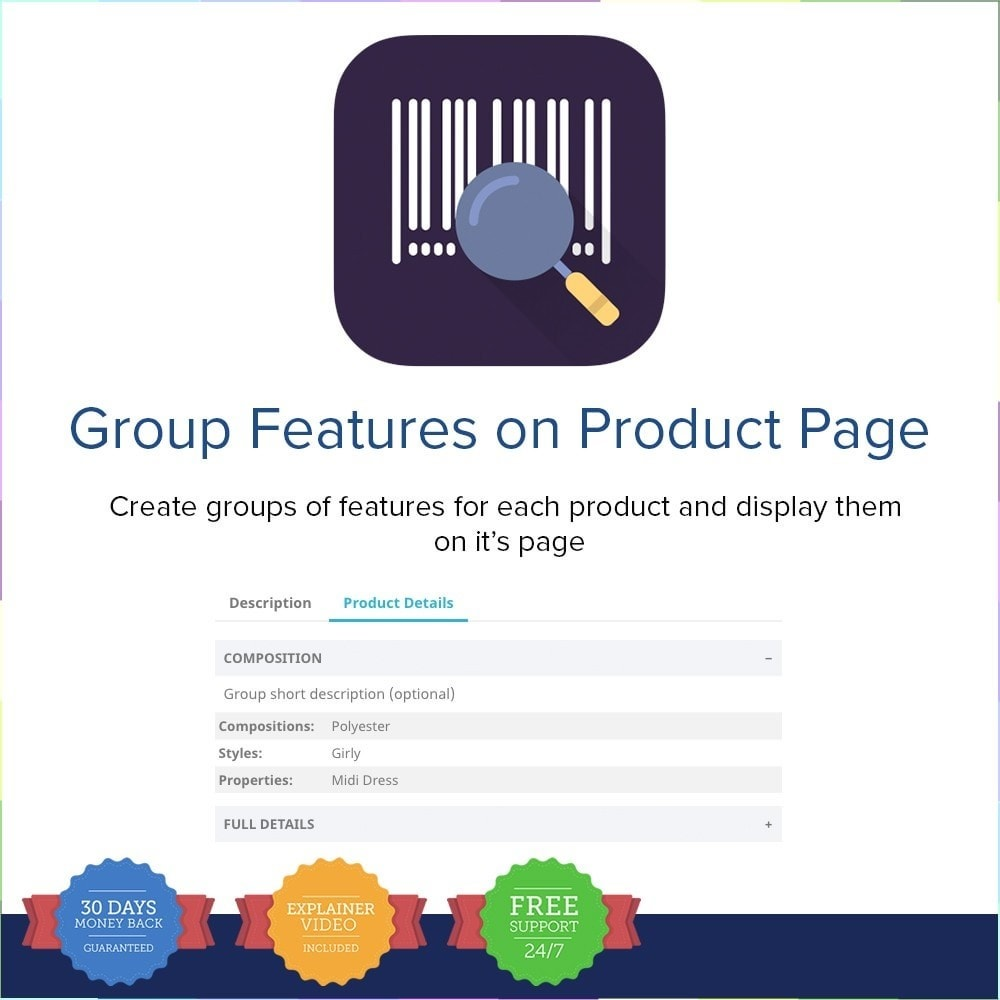module - Personnalisation de Page - Group Features on Product Page - 1