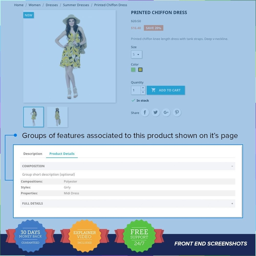 module - Personnalisation de Page - Group Features on Product Page - 2