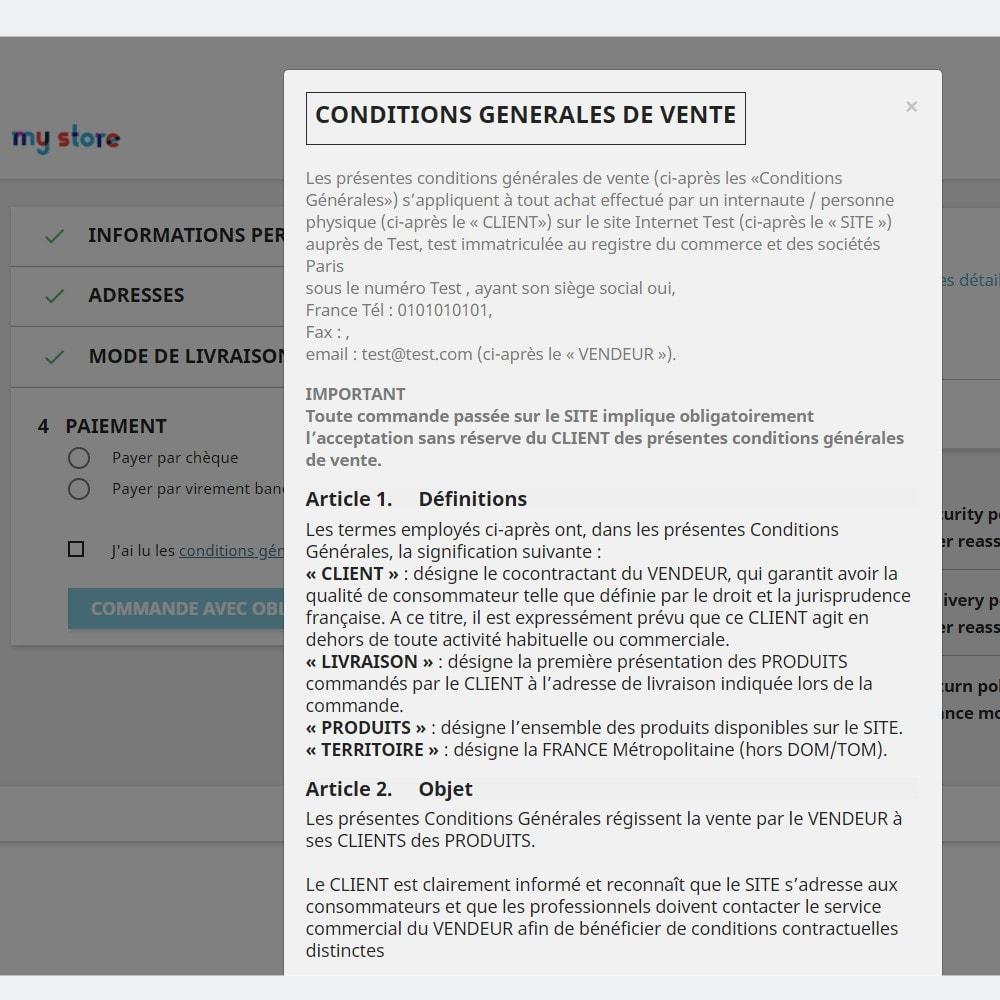 module - Législation (Loi Hamon) - CGV et Mentions légales conforme RGPD - Conditions Générales de Ventes - 4