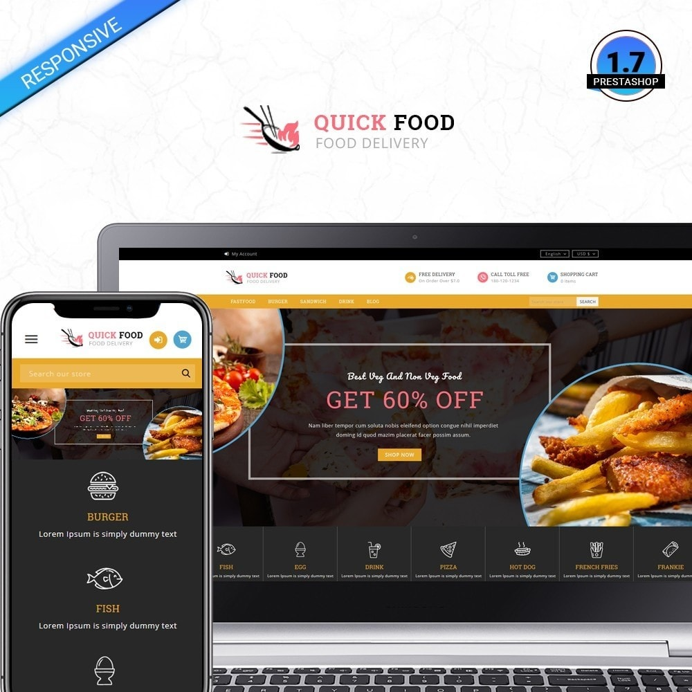 theme - Alimentation & Restauration - QuickFood - Online Food Store - 1
