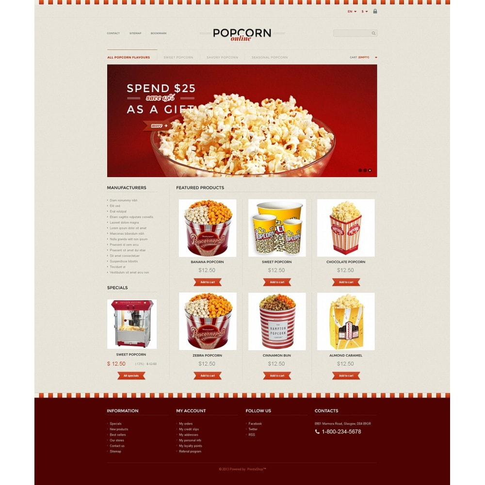 theme - Alimentos & Restaurantes - Responsive Popcorn Store - 2
