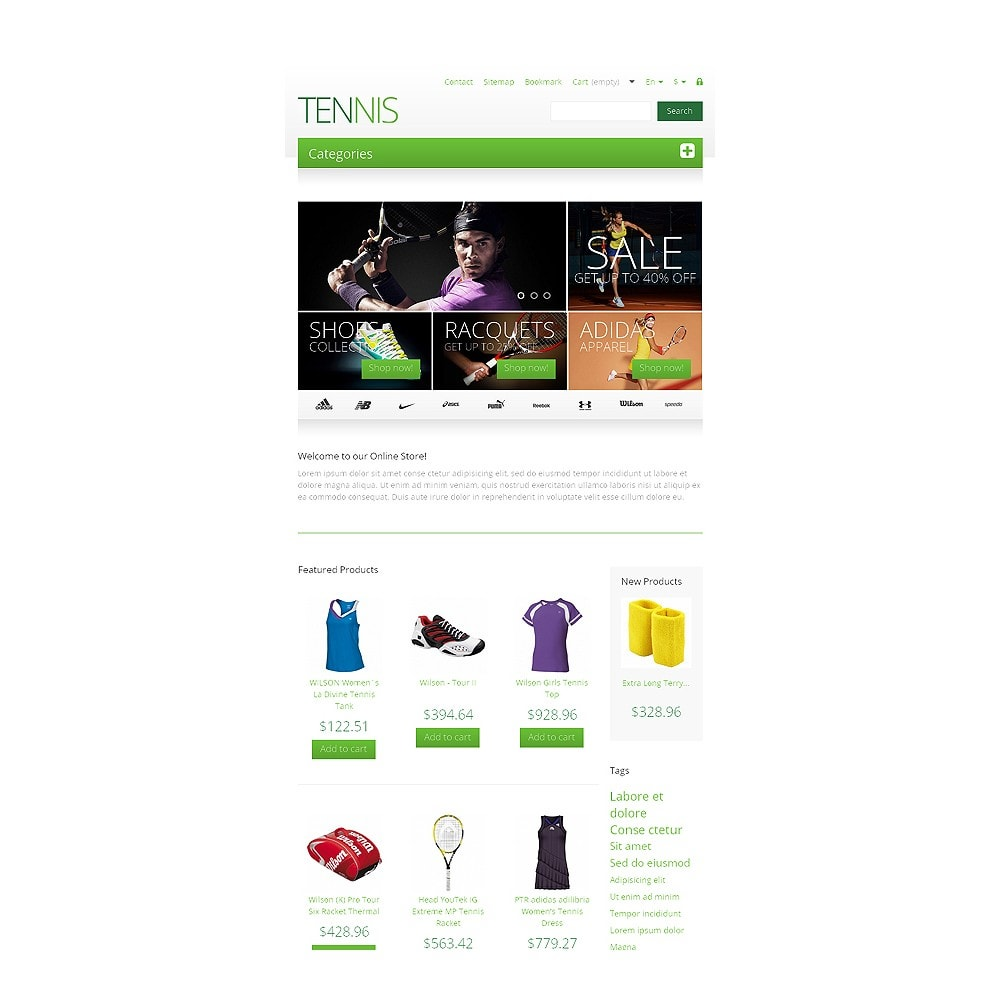 theme - Sport, Rozrywka & Podróże - Responsive Tennis Store - 7