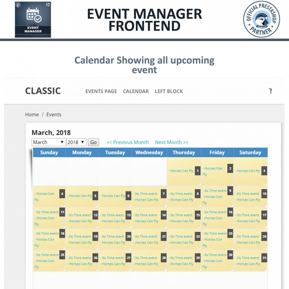 events manager create events sell tickets online prestashop addons