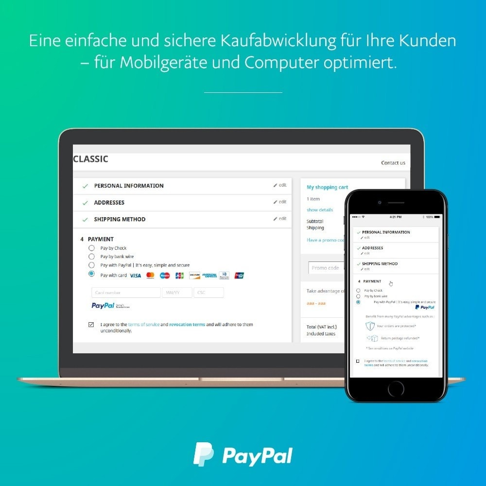 module - Zahlung per Kreditkarte oder Wallet - Offizielles PayPal - 1