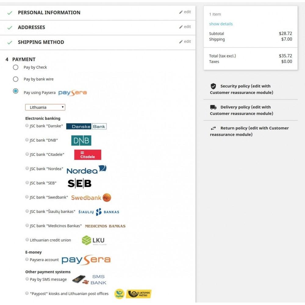 module - Pagamento con Carta di Credito o Wallet - Paysera gateway - 2