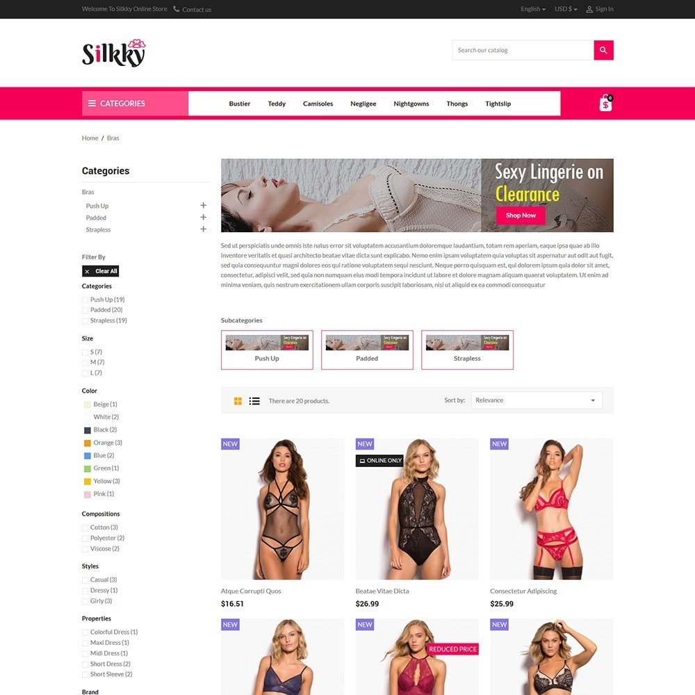 theme - Lingerie & Adulti - Silkky - Lingerie Online Store - 3