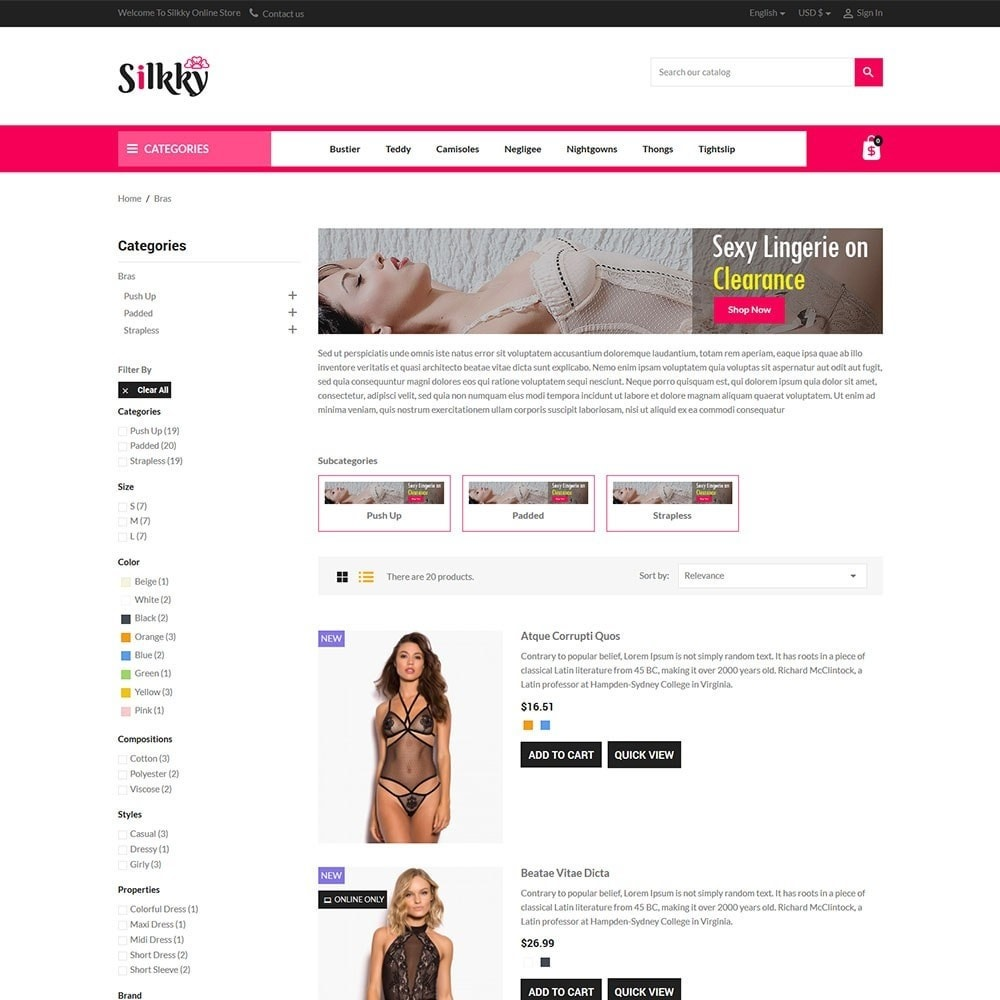 theme - Lingerie & Adulti - Silkky - Lingerie Online Store - 4