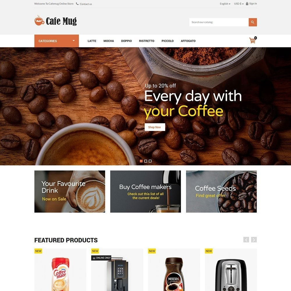 theme - Lebensmittel & Restaurants - Cafemug - Coffee Online Store - 2