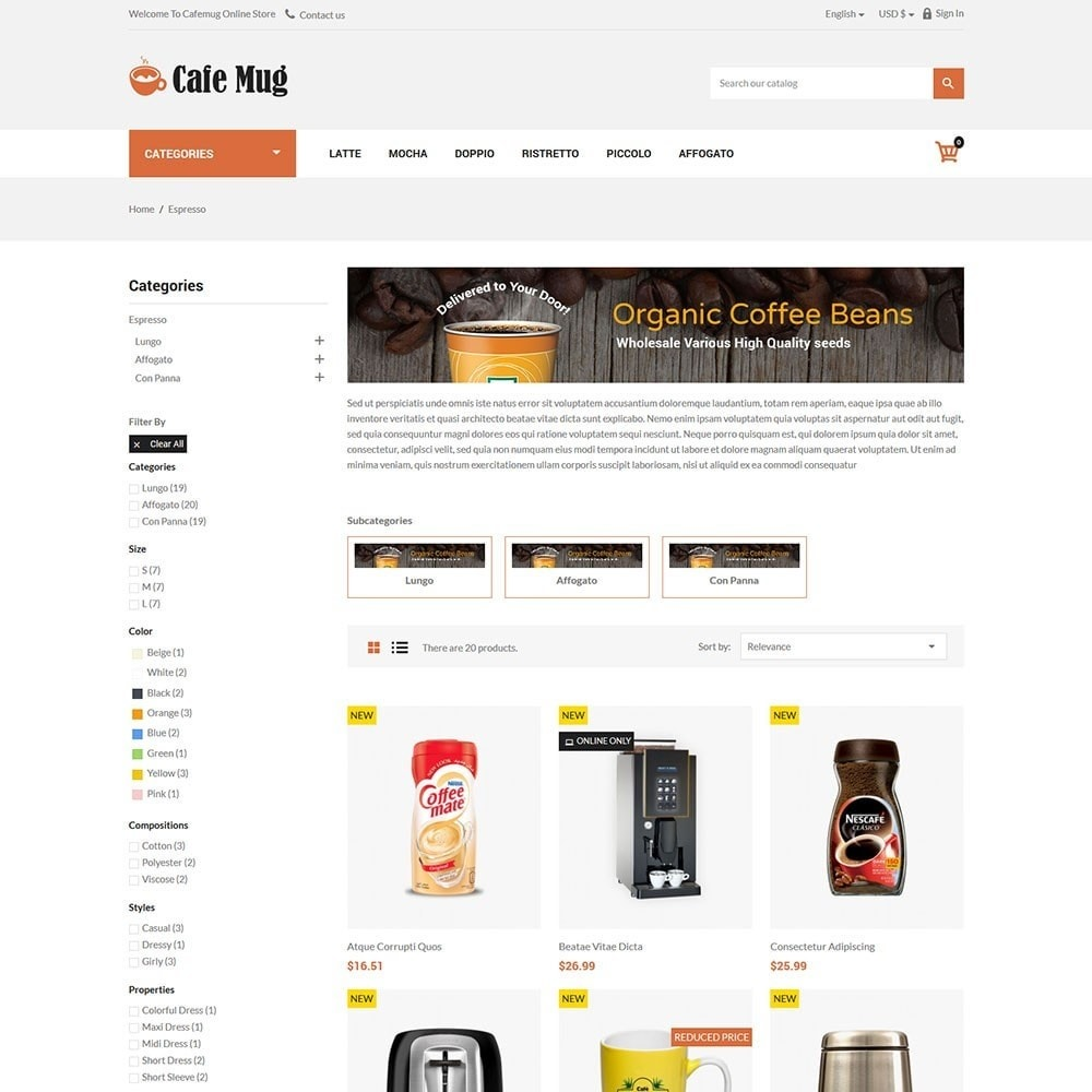 theme - Lebensmittel & Restaurants - Cafemug - Coffee Online Store - 3