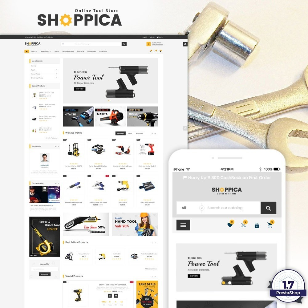 theme - Automotive & Cars - Shoppica – Tools Super Store v3 - 1