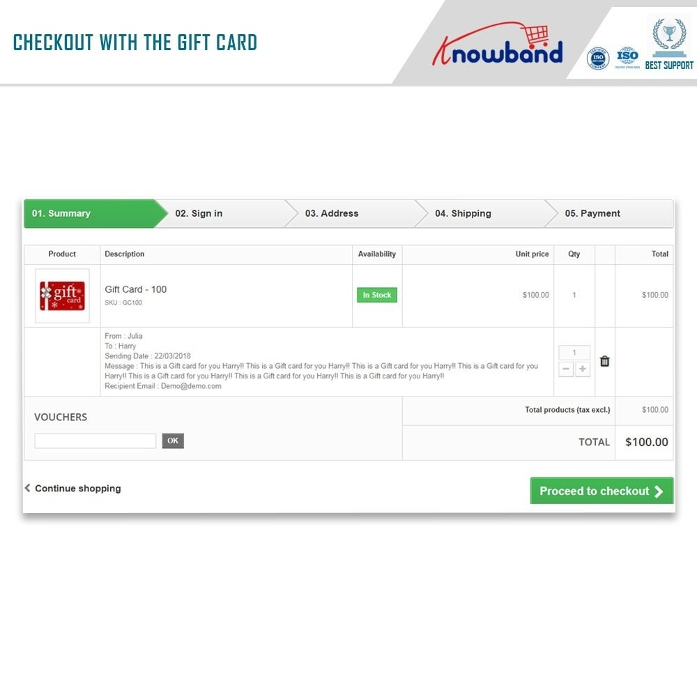 module - Whishlist & Gift Card - Knowband - Gift card manager - 4