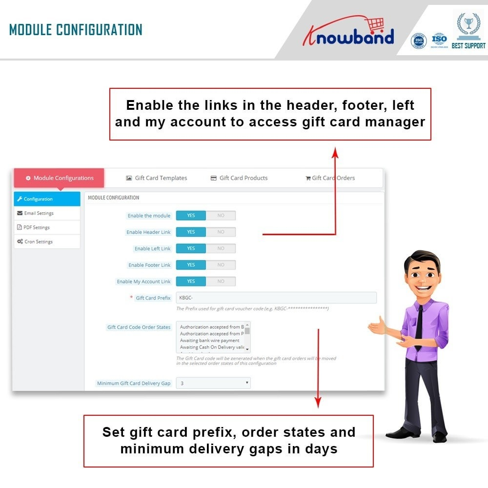 module - Whishlist & Gift Card - Knowband - Gift card manager - 5