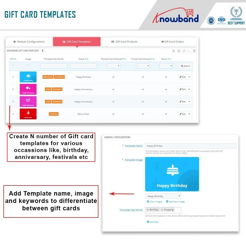 module - Whishlist & Gift Card - Knowband - Gift card manager - 9