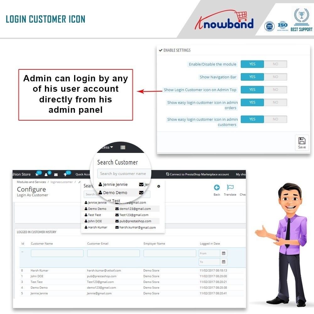 module - Управления учетными записями клиентов - Knowband - Login as a Customer - 3