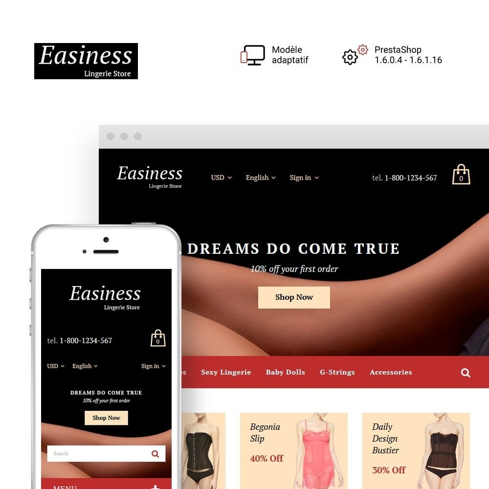 theme - Mode & Chaussures - Easiness - Lingerie Store - 1