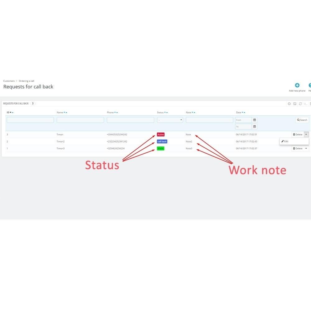 module - Поддержка и онлайн-чат - Заказ звонка - 8