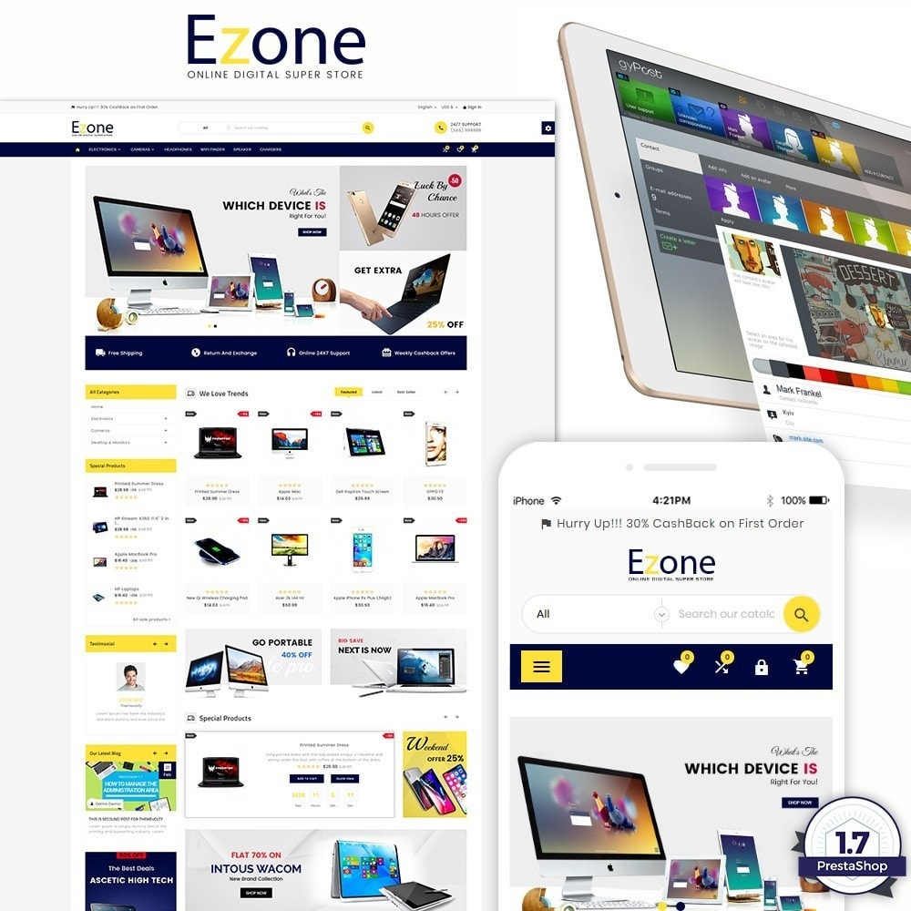 theme - Elektronica & High Tech - Ezone  – Electronic Super Store v3 - 1