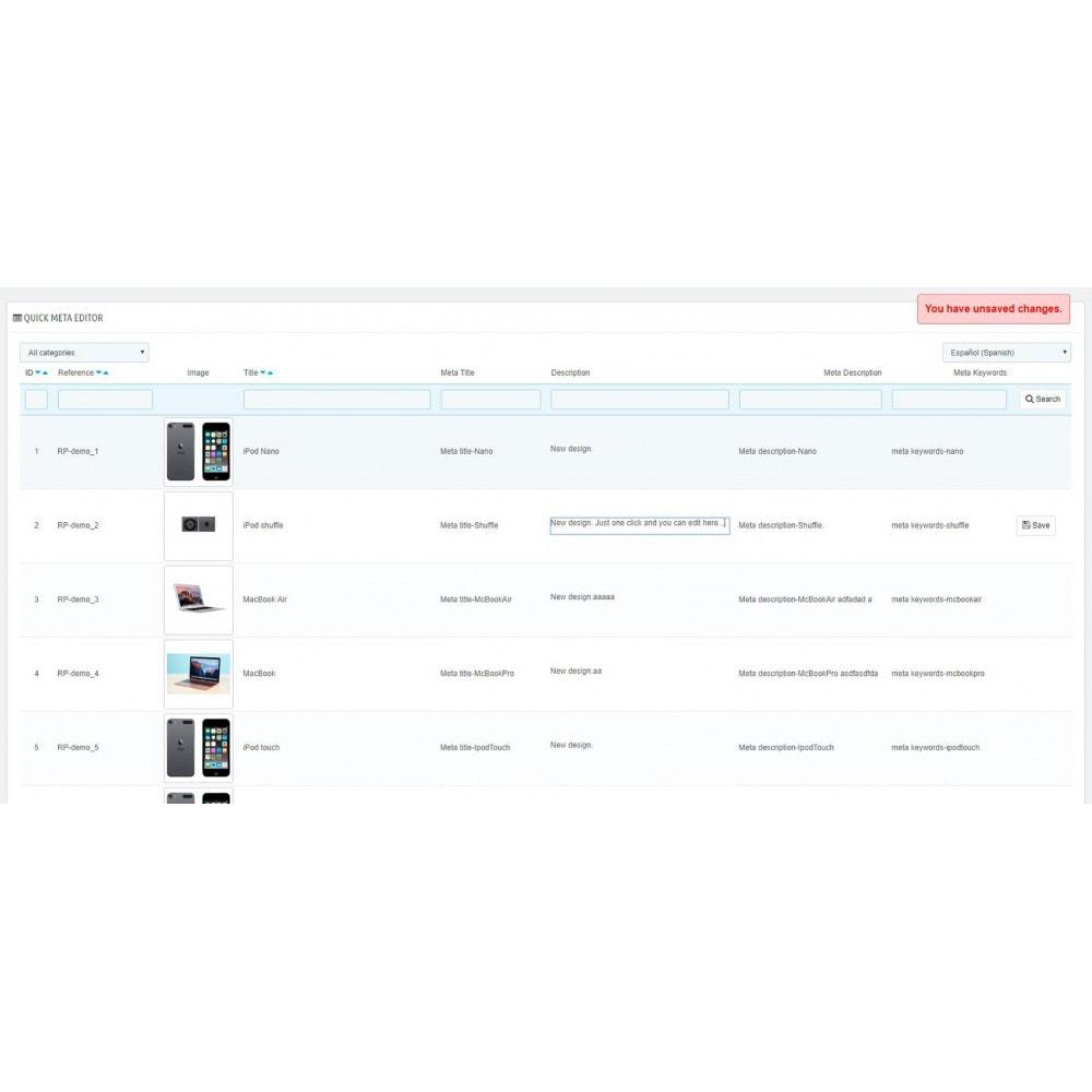 module - SEO (Posicionamiento en buscadores) - Quick Meta Editor - 2