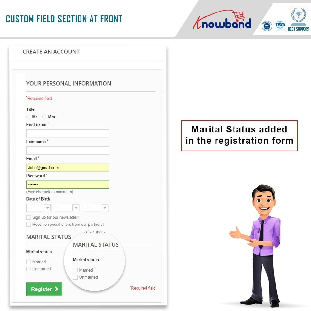 module - Registration & Ordering Process - Knowband - Custom Field Registration - 2