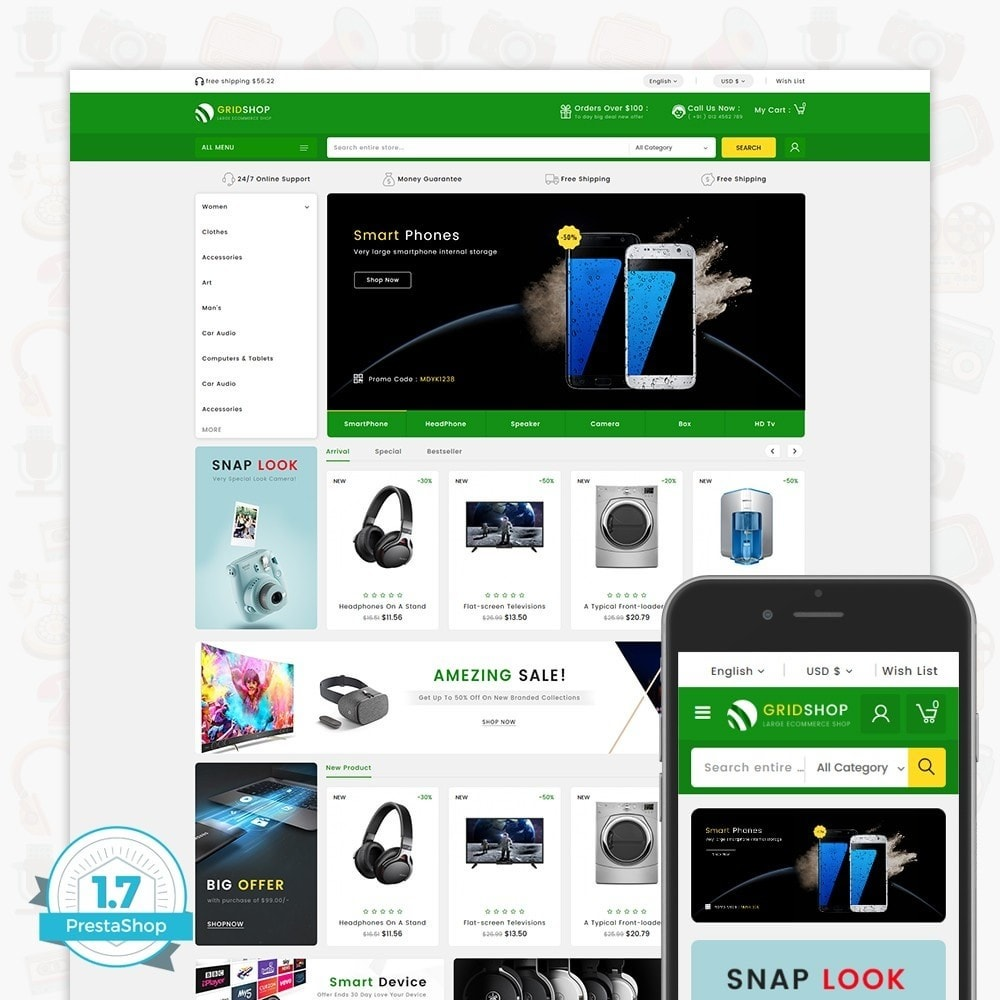 theme - Eletrônicos & High Tech - GridShop - The Large Ecommerce Store - 1