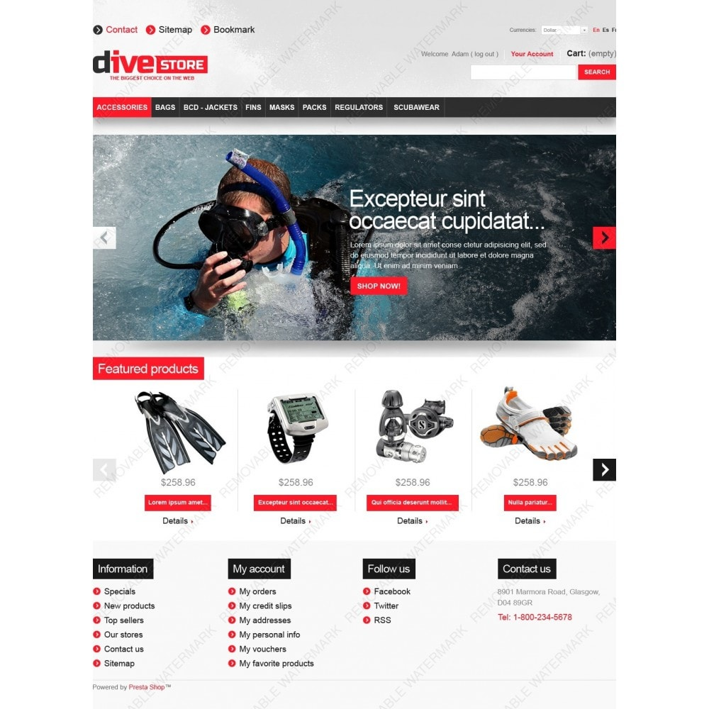 theme - Sports, Activities & Travel - Dive Store - 2