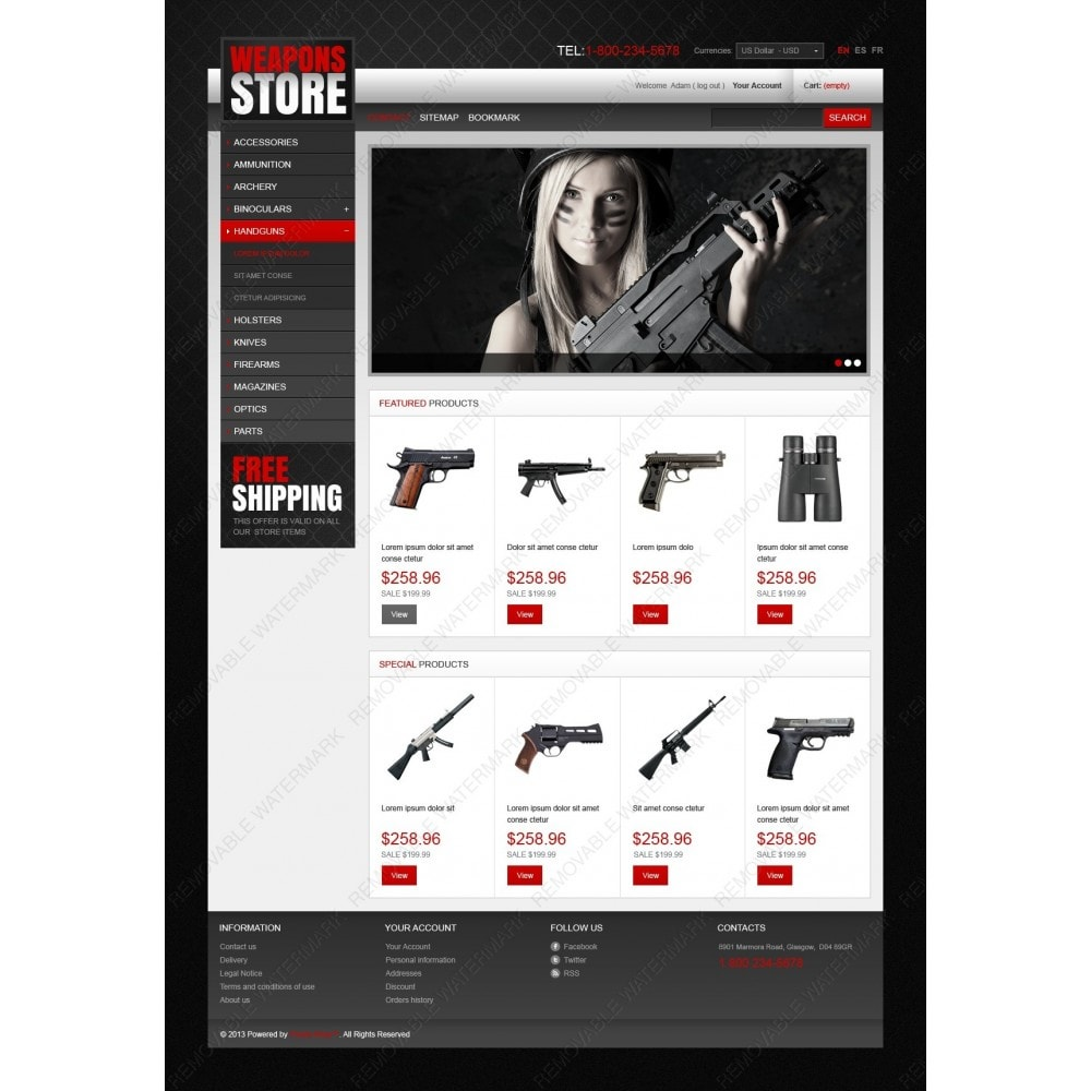 theme - Template PrestaShop - Weapons Store - 2