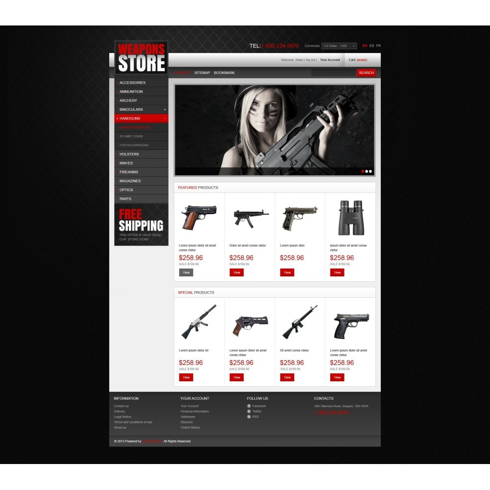 theme - Template PrestaShop - Weapons Store - 3