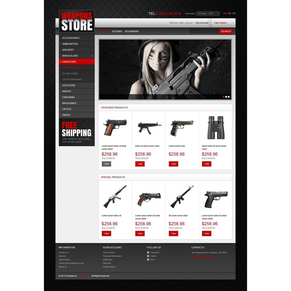 theme - Template PrestaShop - Weapons Store - 5