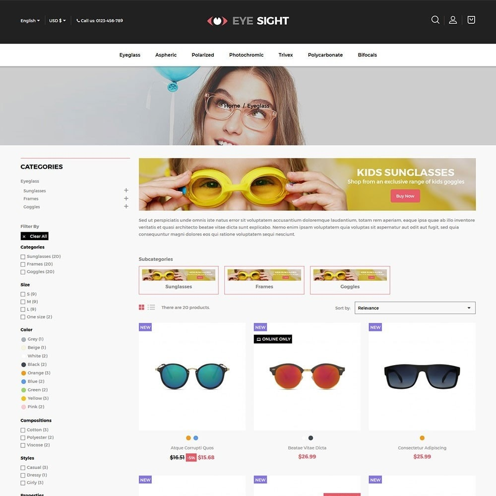 theme - Moda y Calzado - Eyesight - Glasses Online Store - 3