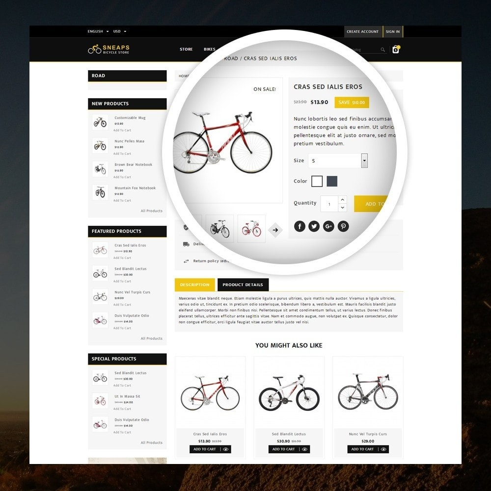 theme - Desporto, Actividades & Viagens - Sneaps - The Bicycle Store - 4