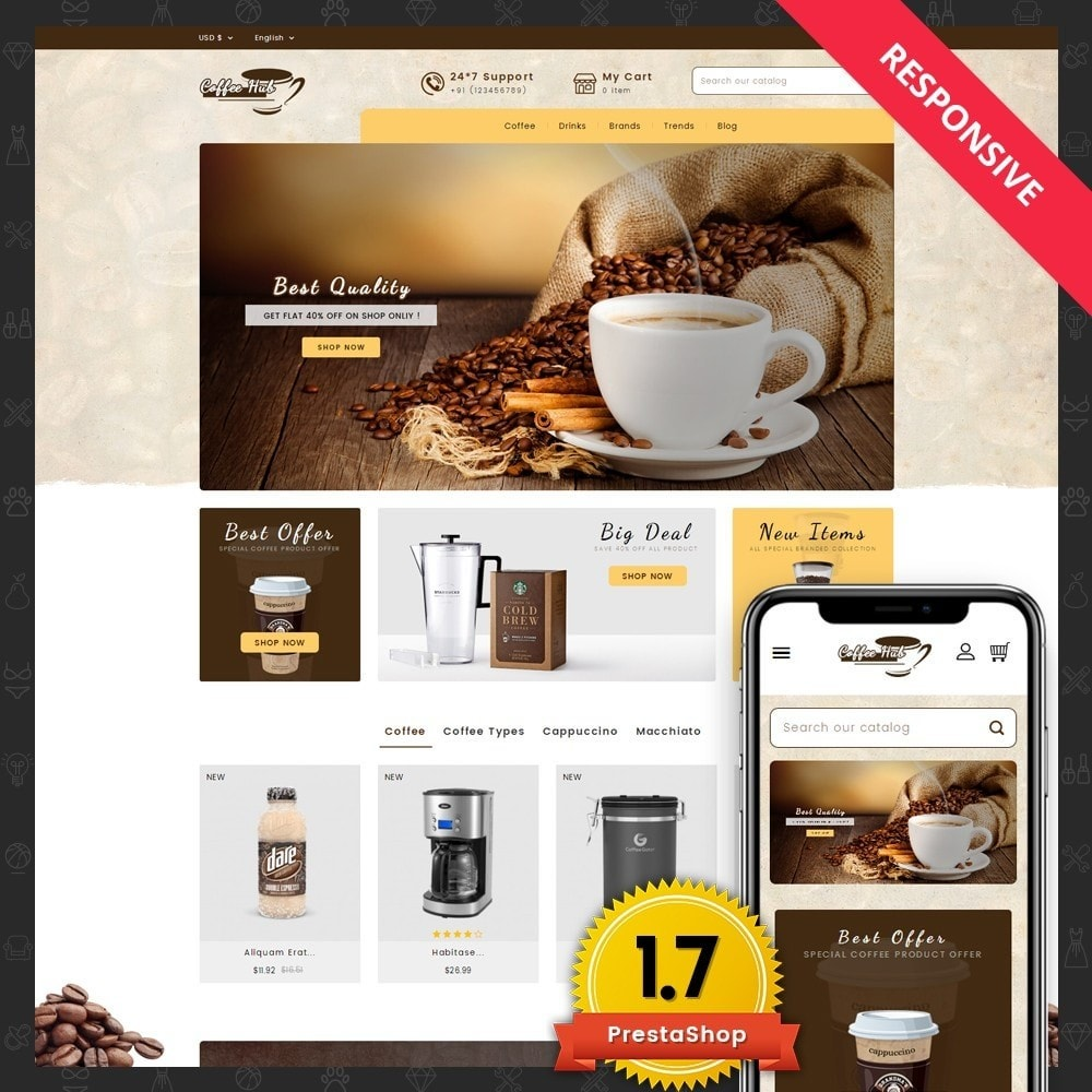 theme - Drink & Wine - Coffeehub Online Store - 1