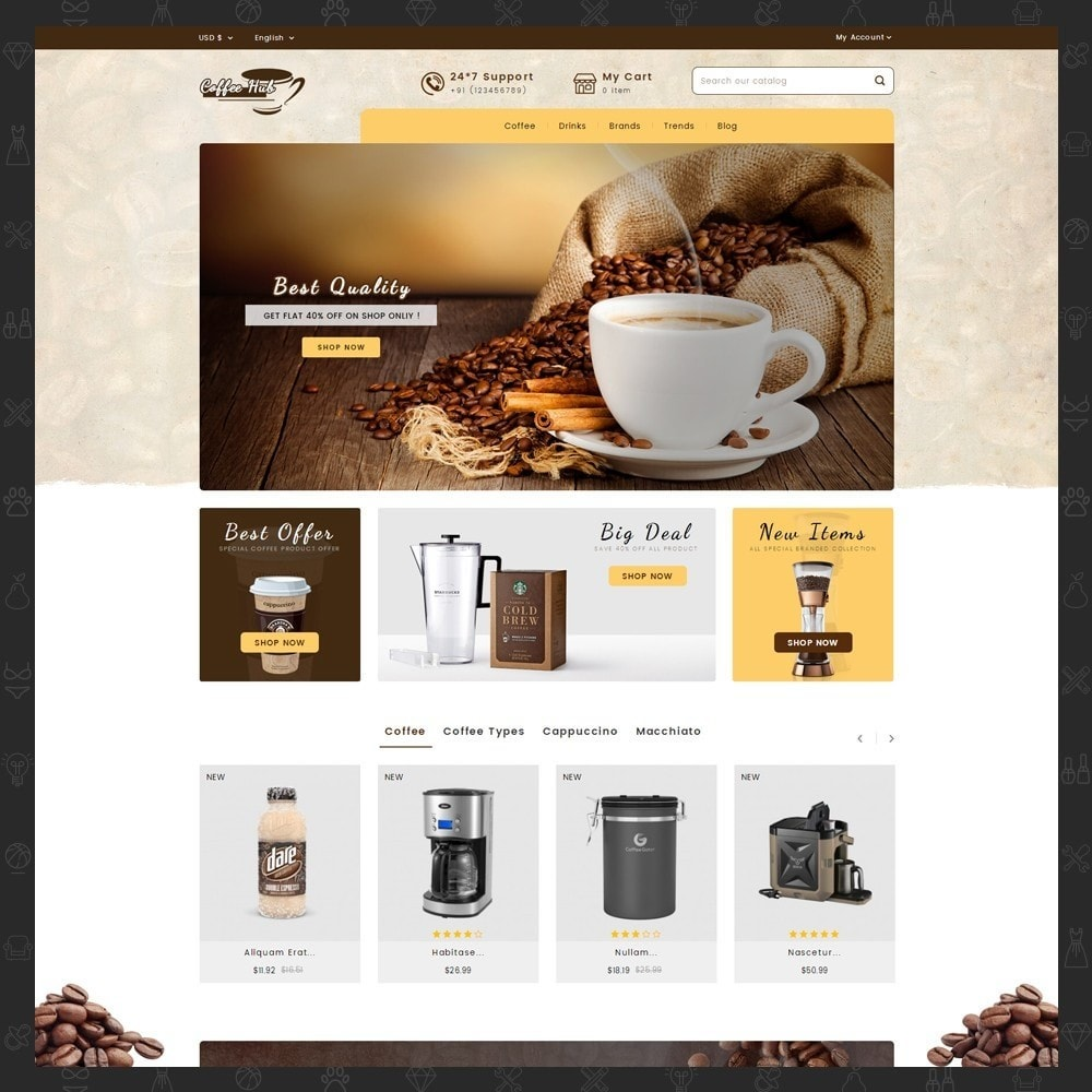 theme - Drink & Wine - Coffeehub Online Store - 2